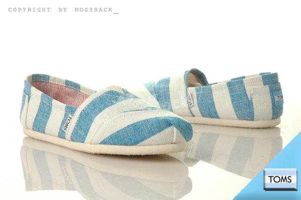 『Mossback』TOMS CLASSICS 帆布 休閒 懶人鞋 平底 寬條紋藍(女)NO:10001411