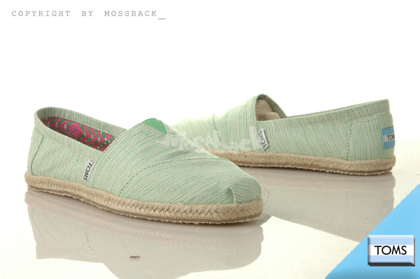『Mossback』TOMS CLASSICS 帆布 休閒 懶人鞋 平底 條紋 刷紋綠(女)NO:10001418