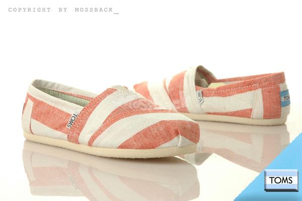 『Mossback』TOMS CLASSICS 帆布 休閒 懶人鞋 平底 寬條紋橘(女)NO:10004487