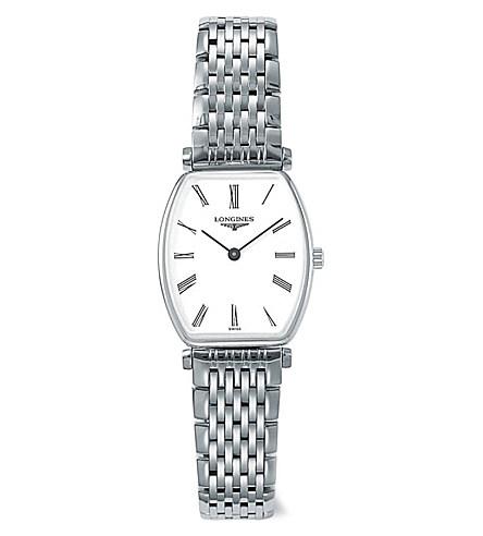 LONGINES L42054116嘉嵐石英酒桶超薄腕錶/白面22.2*24.5mm
