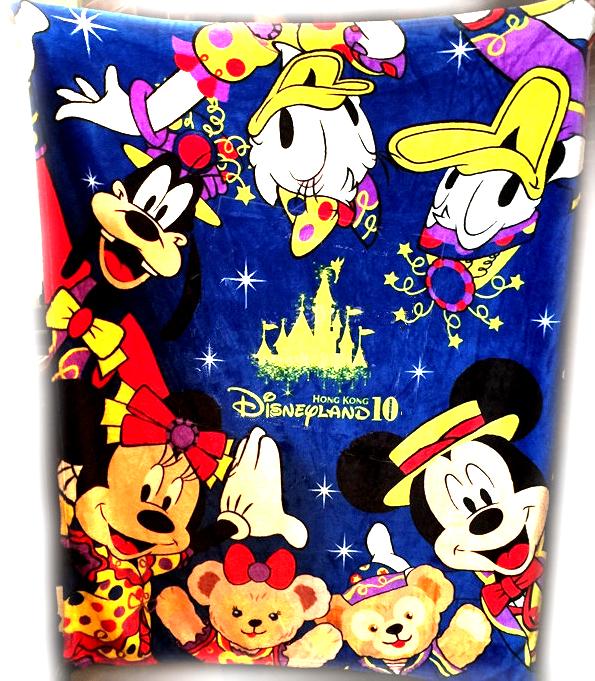 香港迪士尼 十週年紀念 米奇好朋友 米奇米妮 唐老鴨黛西 高飛 奇奇蒂蒂 達菲熊雪莉梅 珊瑚絨毛毯