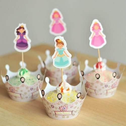 =優生活=烘焙包裝紙杯蛋糕 蛋糕裝飾 插牌圍邊+插牌裝飾 派對用品 兒童生日 彌月蛋糕 收綖蛋糕【可愛公主】