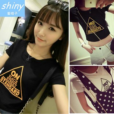 【V0426】shiny藍格子-春之氣息.簡約百搭圓領英文字母短版短袖T恤