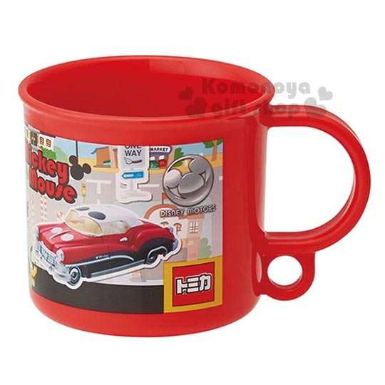 〔小禮堂〕迪士尼 米奇 日製單把手塑膠杯《小.紅.多角色.交通工具.200ml.附防水姓名貼》可當水杯或漱口杯