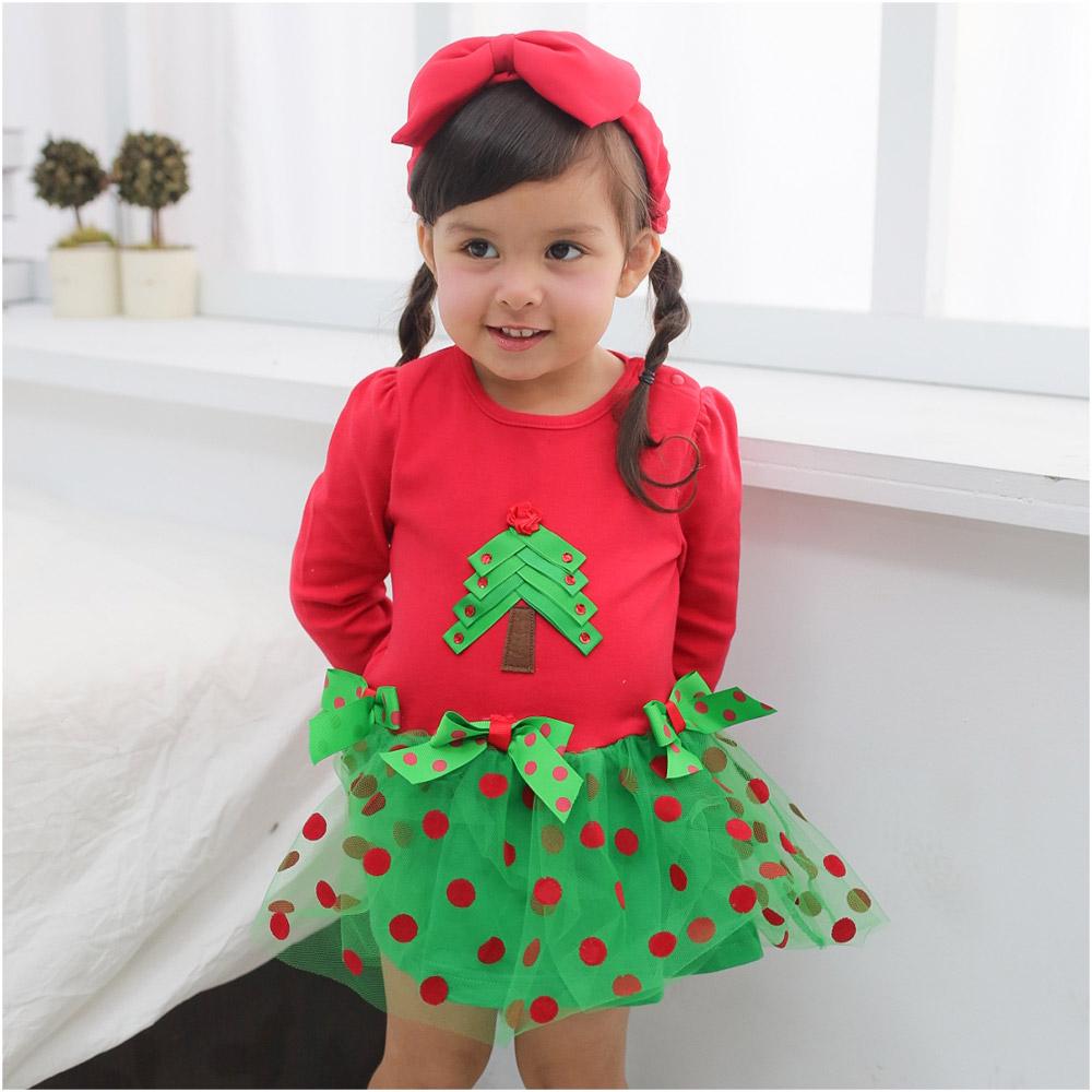 Augelute Baby 立體聖誕樹點點網紗造型包屁裙 37226