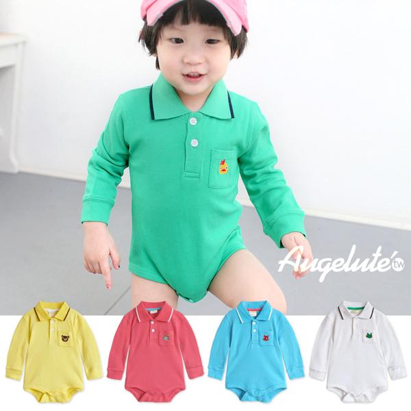 Augelute Baby 簡約動物刺繡Polo領包屁衣 35241