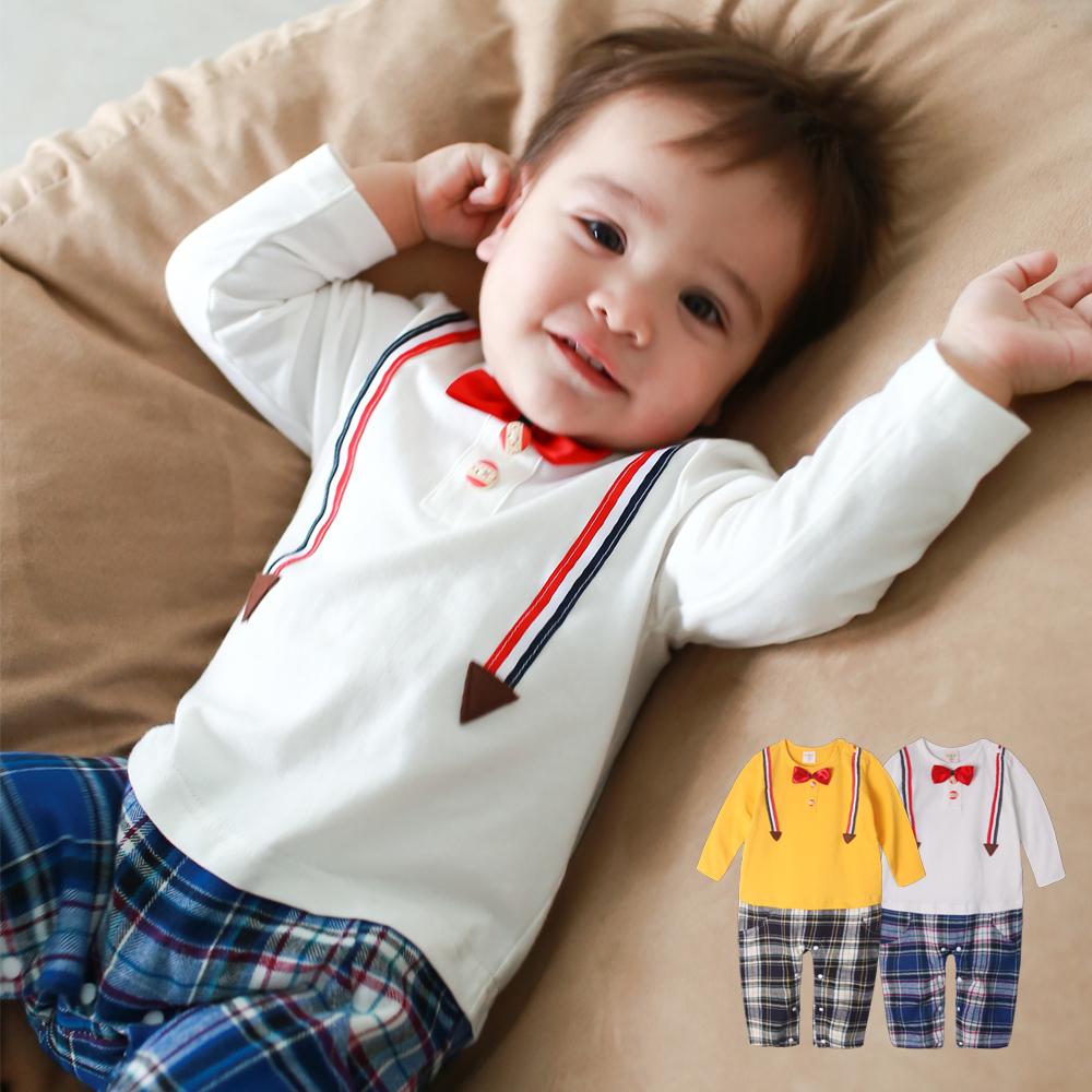 Augelute Baby 假吊帶紳士格紋連身衣 50779