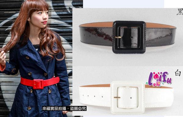 ★草魚妹★H60腰帶明星同款韓版漆皮腰帶皮帶,售價250元