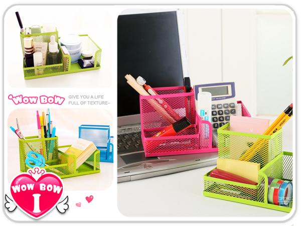 ?愛挖寶? 【SB-18】彩色鐵網組合筆筒/創意辦公桌面收納盒/金屬整理盒