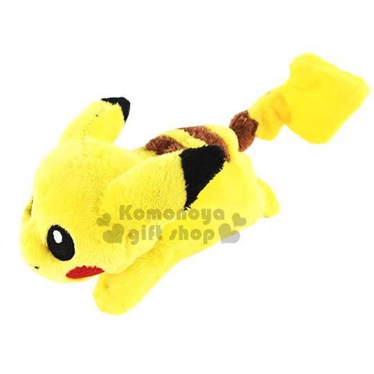 〔小禮堂〕神奇寶貝Pokemon 皮卡丘 造型絨毛娃娃《SS.黃.趴姿》附小夾子