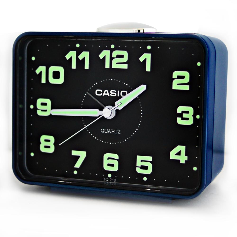 CASIO 卡西歐 TQ-218 簡約生活夜光桌上方型貪睡鬧鐘