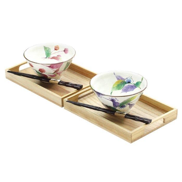 【日本和藍】花???茶漬碗筷2入組 (美濃燒) / 日式 無毒 瓷器 生日 結婚 送禮 工藝 收藏品 24期免運費