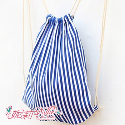 Nillie‧海軍藍條紋束口後背包(藍) 04/07 HELLO SPRING【N17024】現+預