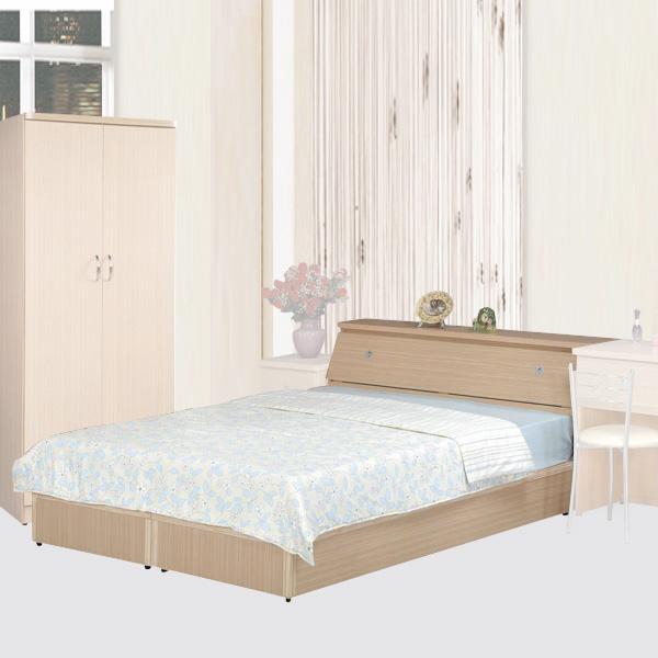《YoStyle》艾莉5尺雙人床組(白橡木紋)(床底+床頭箱)