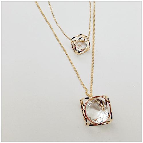 美麗新晴【SE40812】鑽石圓形鏤空雙層項鍊 現+預