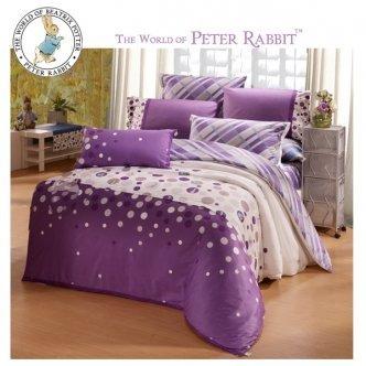 giligo 來自英國的彼得兔-英格蘭摩天輪標準單人五件式床包組-紫(PR290)