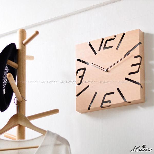 壁鐘|日本MAKINOU-木質方型鏤空鐘-台灣製|日本牧野 時鐘藝術鐘造型鐘搖擺鐘數字鐘 MAKINO
