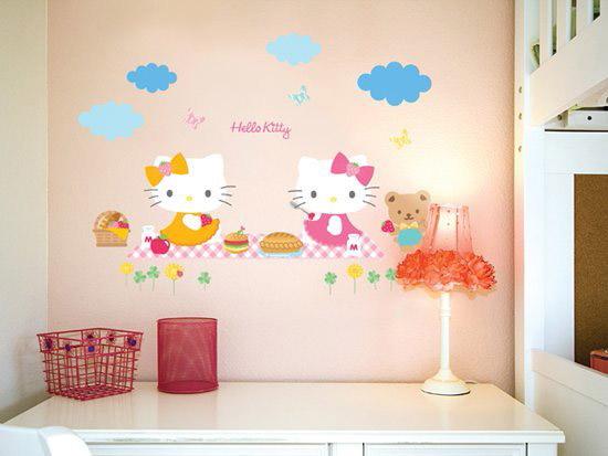 【真愛日本】16051100018壁貼-KT小熊 三麗鷗 Hello Kitty 凱蒂貓 居家 裝飾 正品 預購