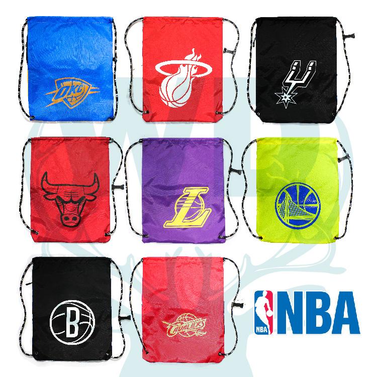 萬特戶外運動- NBA 束口袋 抽繩袋 輕便 運動 簡單 防潑水 小拉鍊夾層 熱門款 8隊 NBA官方授權 台灣創信