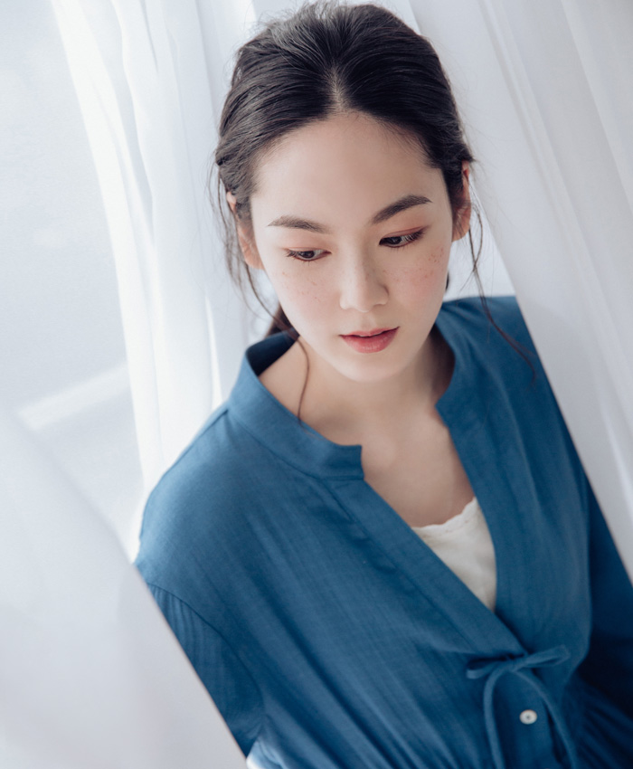 V領長袖洋裝-藍