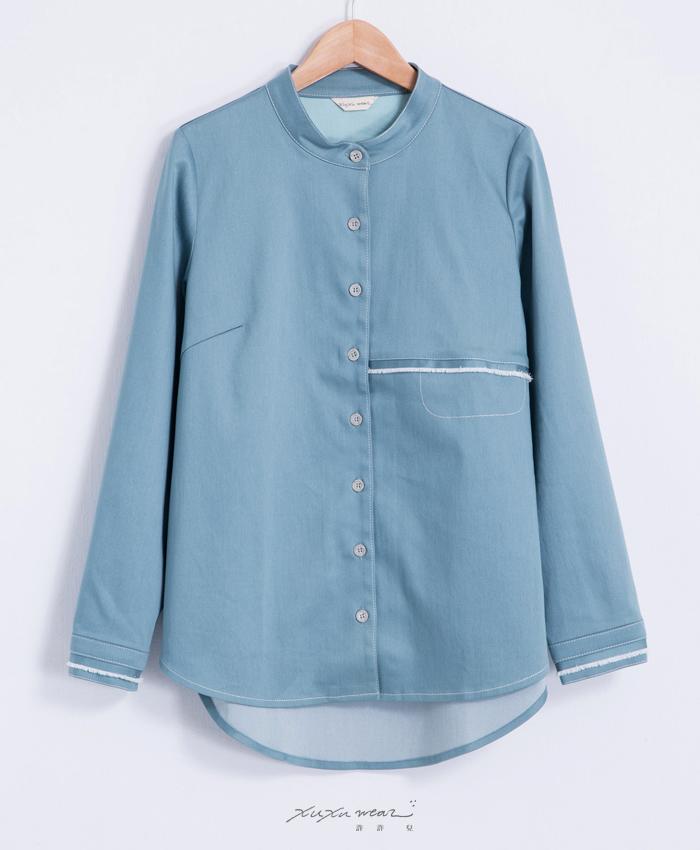 海平線上流蘇袖口造型襯衫-藍綠