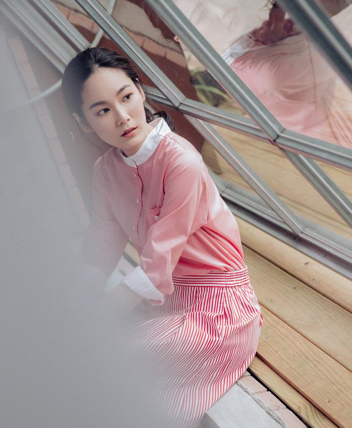 雨光粼粼立領七分袖襯衫-粉紅光