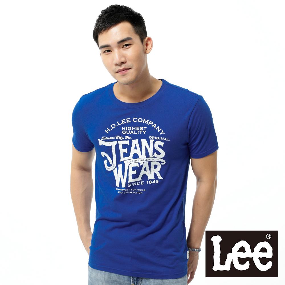 【秋冬商品 TOP ↘單一特價330】Lee 圓領創意文字寬領邊短袖T恤 -男款(藍)
