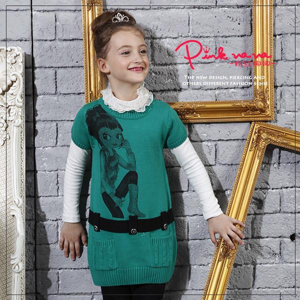 PINKNANA娜娜圖樣針織短袖洋裝28183