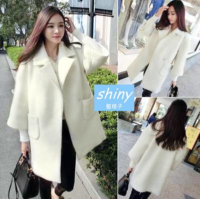 【V1194】shiny藍格子-時尚注目.白色翻領寬鬆羊毛呢中長款大衣外套