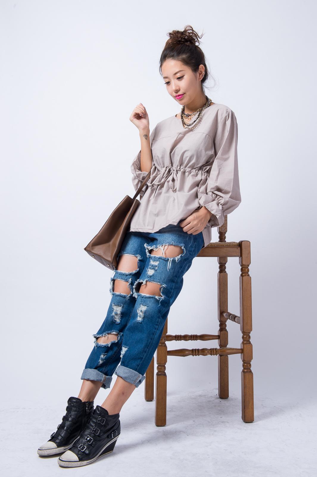 (清倉)正韓空運東大門帶回 大碼 胖妹穿很顯瘦寬鬆素色腰綁帶荷葉袖休閒寬鬆上衣