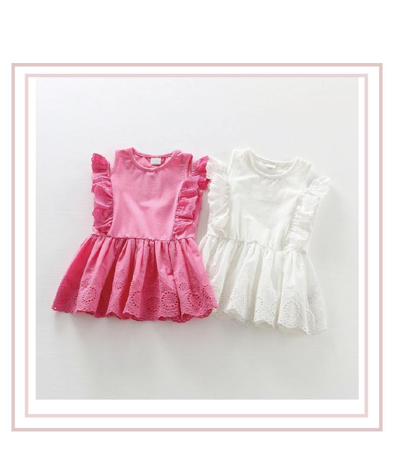 夏裝新款童裝女童純棉蕾絲露肩洋裝