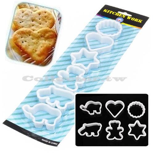 【N14053002】6件套卡通烘焙模具 餅幹模 蛋糕模 切割器 Diy壓花工具
