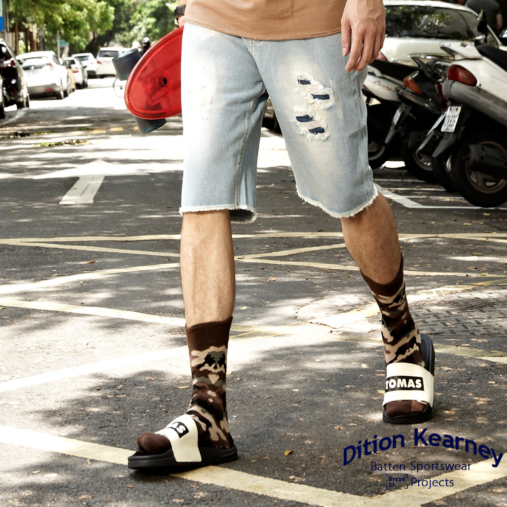 DITION 雙層刷破JEANS補丁復古抽鬚牛仔短褲