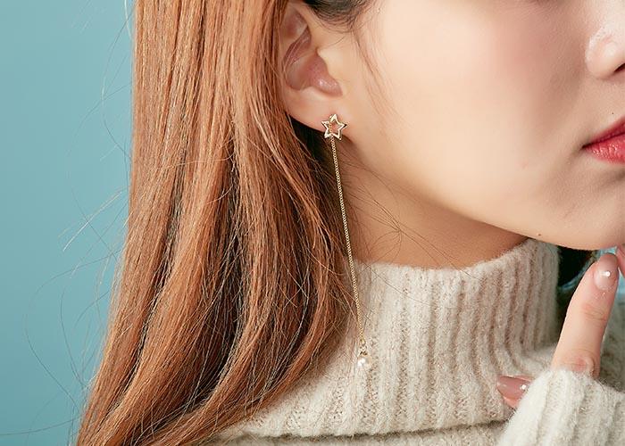 韓國飾品,星星造型耳環,貼耳耳環,夾式耳環,珍珠造型耳環
