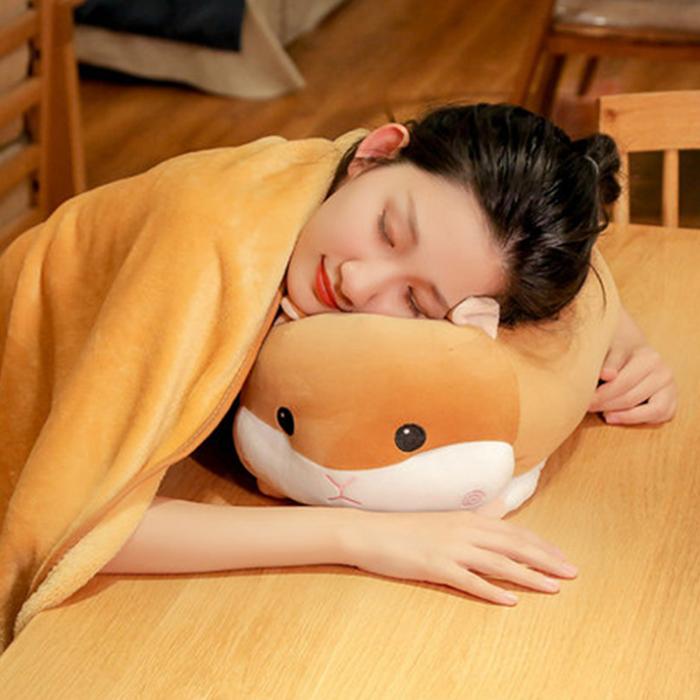 (35cm賣場)趴姿 倉鼠 瞌睡豬 倉鼠抱枕 小豬抱枕 有毯子 動物抱枕 豬 老鼠 娃娃 玩偶 午睡枕 禮物【葉子小舖】