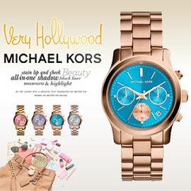 美國 Outlet 美國正品代購 Michael Kors MK 不鏽鋼 藍面 玫瑰金錶帶 三環計時日曆手錶腕錶 MK6164【輸入:coupon03 現折50】