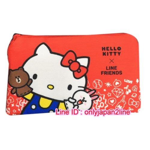 【真愛日本】16102500004LINE聯名帆布雙層資料袋-熊大抱KT 三麗鷗 Hello Kitty 凱蒂貓 資料袋 文具用品