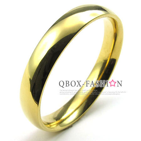《 QBOX 》FASHION 飾品【W10022933】精緻個性細版素面金色316L鈦鋼戒指/戒環(0.4cm)