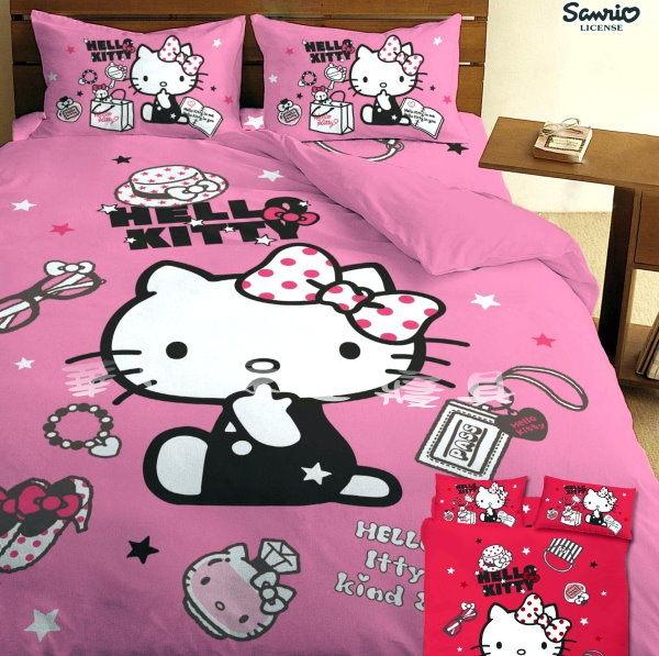 *華閣床墊寢具暢貨批發中心*《Hello Kitty.時尚寶盒-粉》單人床包組【床包+枕套*1】台灣三麗鷗授權 MIT
