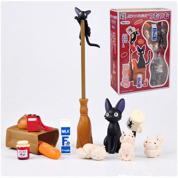 =優生活=宮崎駿 魔女宅急便手辦模型擺件 黑貓kiki公仔模型 13入組疊疊樂龍貓層層疊 盒裝公仔 景觀公仔