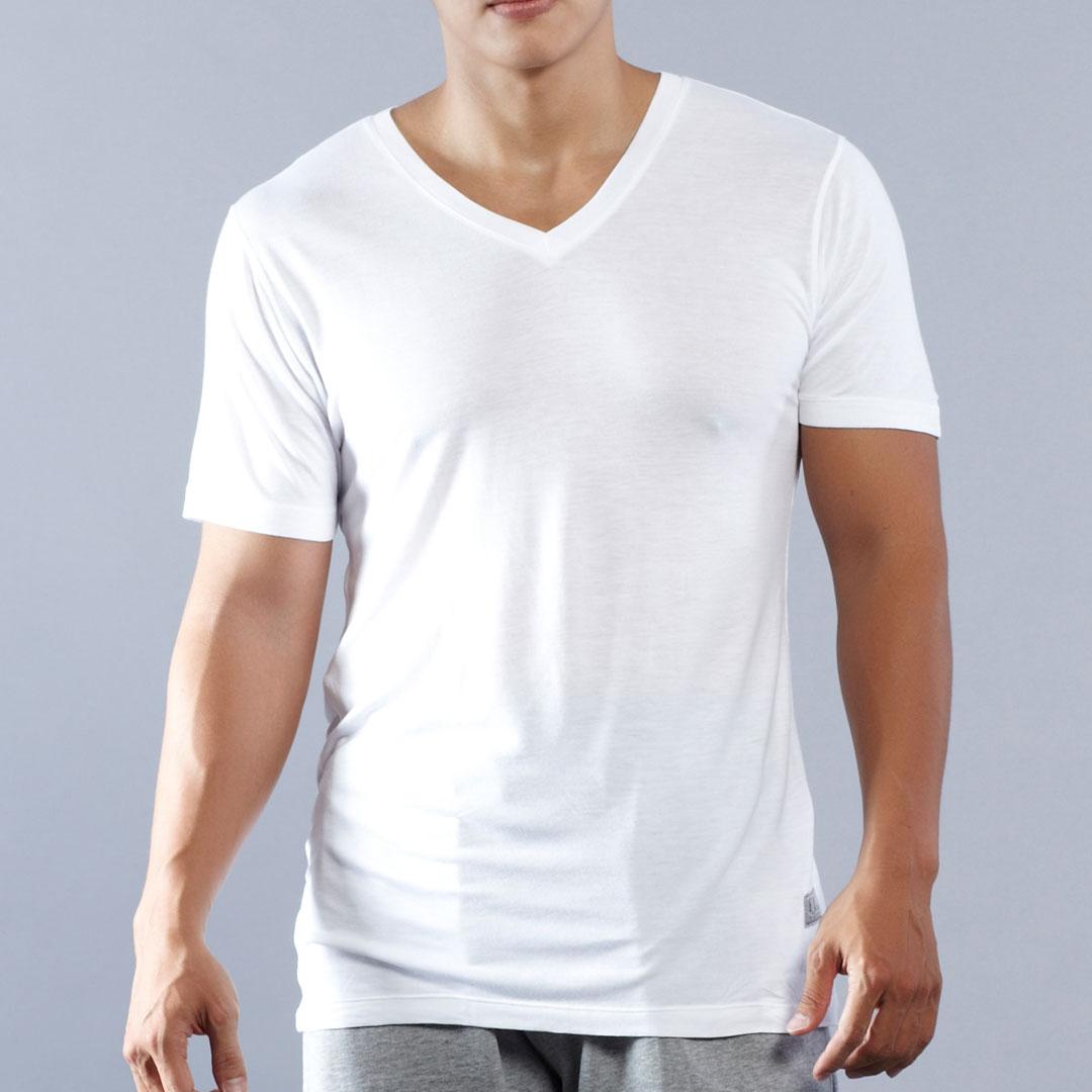 ELLE HOMME莫代爾V領短袖T恤-灰/白【中揚精品】 E8451