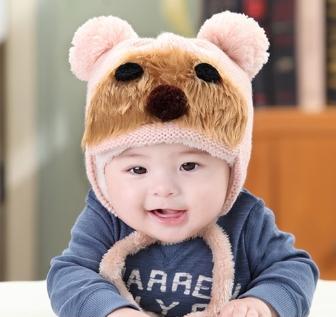 Lemonkid◆秋冬可愛毛絨熊熊雙毛球立體造型保暖兒童針織毛線帽-粉米