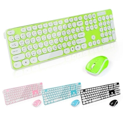 【迪特軍3C】aibo M08 2.4G繽紛多彩普普風無線鍵盤滑鼠組 粉藍/黑色/粉綠/粉紅