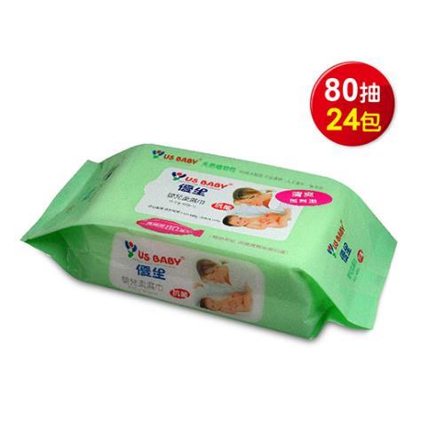 優生 嬰兒柔濕巾 超厚型 80抽24包 (綠/無蓋)