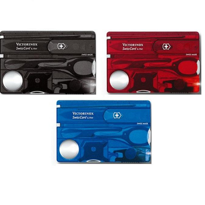 Victorinox 維氏13用名片型瑞士LED燈刀(透黑/透藍/透紅)
