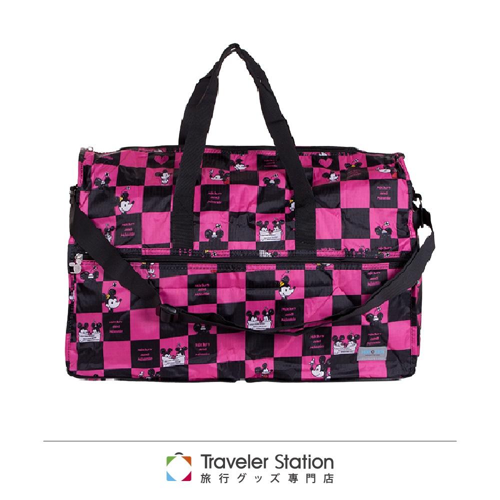【日本暢銷 HAPI+TAS】 格子粉米奇 高級摺疊 防潑水 圓形旅行袋 大 (可登機 旅行 搭配拉桿使用)