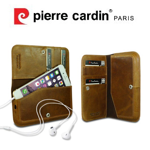 [ iPhone6/6S ] Pierre Cardin法國皮爾卡登4.7吋錢夾式真皮手機套/保護套/皮套 可放信用卡/提款卡/悠遊卡/鈔票 棕色
