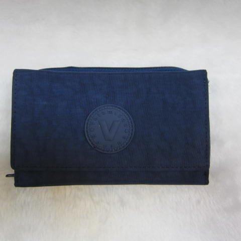 ~雪黛屋~Velamtino 中型女用休閒皮夾進口專櫃防水尼龍布暗釦型三折式大容量設計 A136-034 深藍