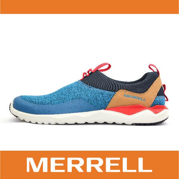 萬特戶外運動 MERRELL 1SIX8 MOC 168系列 都會休閒款 避震氣墊 舒適耐走 直套式 免綁鞋帶 藍/卡其 男款 49693
