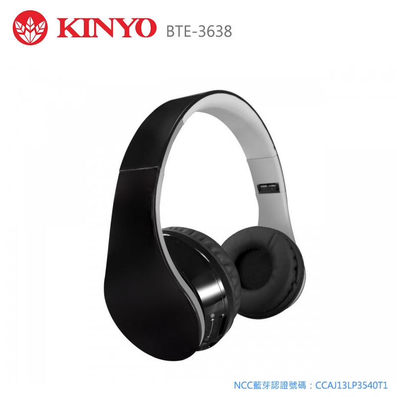 KINYO 耐嘉 BTE-3638 藍芽立體聲免持耳麥/耳機/摺疊式/耳罩式/可接聽通話/3.5mm/電腦/平板/手機/APPLE iphone 6 plus/6/5S HTC One E9/M9/M..